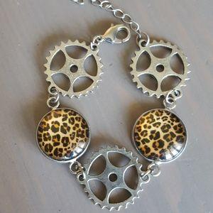 Glass cheetah steam punk gears bracelet goth